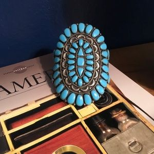 Navajo Turquoise Cluster Cuff